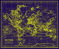 World Map (1899) Blue & Yellow
