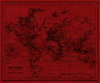 World Map (1899) Dark Red & Black