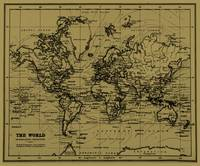 World Map (1899) Tan & Black