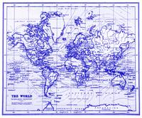 World Map (1899) White & Blue