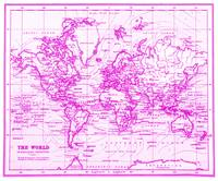 World Map (1899) White & Pink