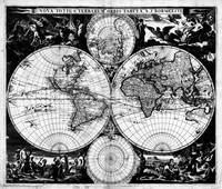 Vintage Map of The World (1685) Black & White