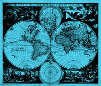 Vintage Map of The World (1685) Black & Light Blue