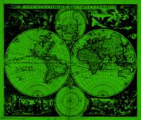 Vintage Map of The World (1685) Black & Green