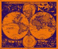 Vintage Map of The World (1685) Purple & Orange