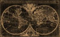 World Map (1691) Black & Light Brown
