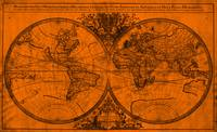 World Map (1691) Orange & Black