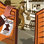 """Cowboy Robber Stealing Saloon Poster"" by patrimonio"