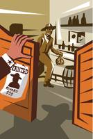 Cowboy Robber Stealing Saloon Poster