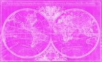 World Map (1691) Pink & White