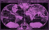 World Map (1691) Black & Pink