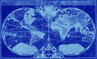 World Map (1691) Blue & Light Blue