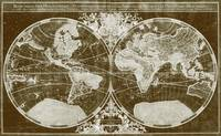 World Map (1691) Dark Brown & White