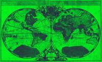 World Map (1691) Green & Blue