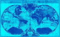 World Map (1691) Light Blue & Blue