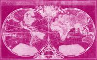 World Map (1691) Pink & Light Pink