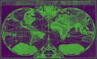 World Map (1691) Purple & Green