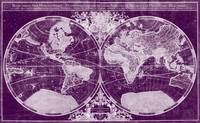 World Map (1691) Dark Purple & White