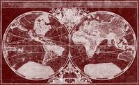 World Map (1691) Dark Red & White