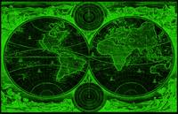 World Map (1730) Black & Green