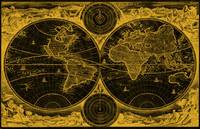 World Map (1730) Black & Light Orange