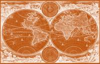 World Map (1730) Orange & White
