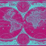 """World Map (1730) Pink & Light Blue"" by Alleycatshirts"