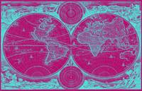 World Map (1730) Pink & Light Blue