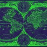 """""""World Map (1730) Dark Blue & Green"""" by Alleycatshirts"""