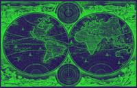World Map (1730) Dark Blue & Green