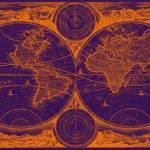 """""""World Map (1730) Purple & Orange"""" by Alleycatshirts"""