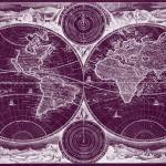 """World Map (1730) Purple & White"" by Alleycatshirts"