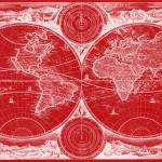 """World Map (1730) Red & White"" by Alleycatshirts"