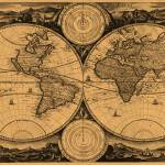 """World Map (1730) Light Brown & Black"" by Alleycatshirts"
