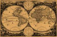 World Map (1730) Light Brown & Black
