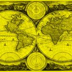 """World Map (1730) Yellow & Black"" by Alleycatshirts"
