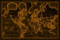 World Map (1766) Black & Orange