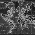 """World Map (1766) Black & White"" by Alleycatshirts"