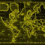 """World Map (1766) Black & Yellow"" by Alleycatshirts"