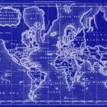 """World Map (1766) Blue & White"" by Alleycatshirts"