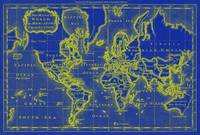 World Map (1766) Blue & Yellow