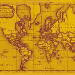 """World Map (1766) Yellow & Purple"" by Alleycatshirts"