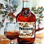"""Hennessy Cognac Bottle with Glass"" by GinetteCallaway"