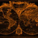 """""""World Map (1775) Orange & Black"""" by Alleycatshirts"""