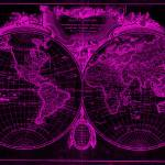 """World Map (1775) Black & Pink"" by Alleycatshirts"