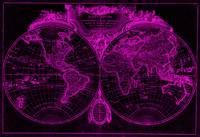 World Map (1775) Black & Pink