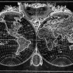 """World Map (1775) Black & White"" by Alleycatshirts"