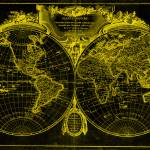 """World Map (1775) Black & Yellow"" by Alleycatshirts"