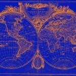 """""""World Map (1775) Blue & Orange"""" by Alleycatshirts"""