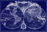 World Map (1775) Blue & White